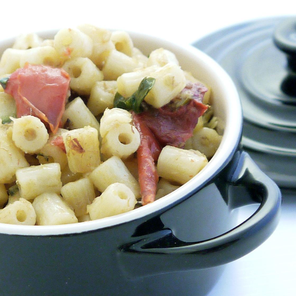Tubetti peperoni, zucchine e merluzzo