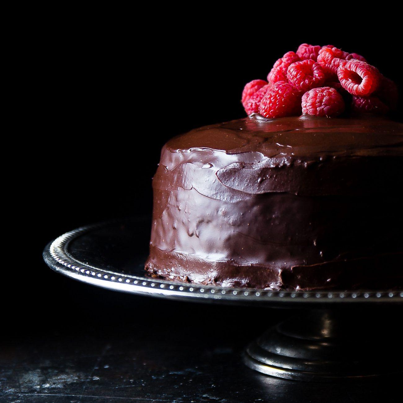 Torta cioccolato e lamponi al profumo d'arancia