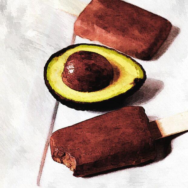 Ghiaccioli cremosi, sani e light con avocado e cacao